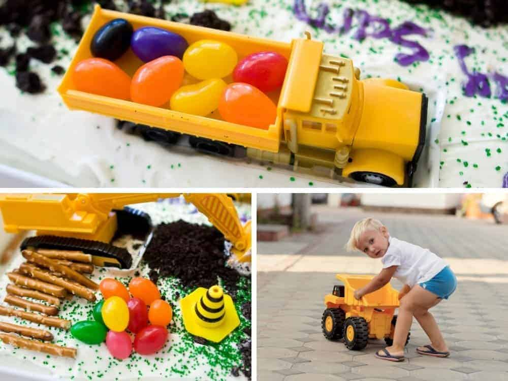 construction birthday cake with jelly beans and boy playing with truck