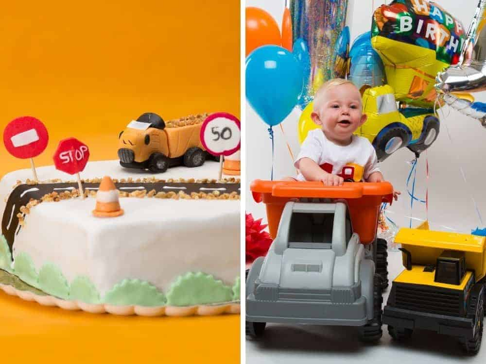 boy in a construction truck with balloons and a birthday cake