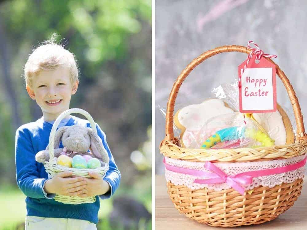 boy with easter basket and closeup of easter basket with fillers
