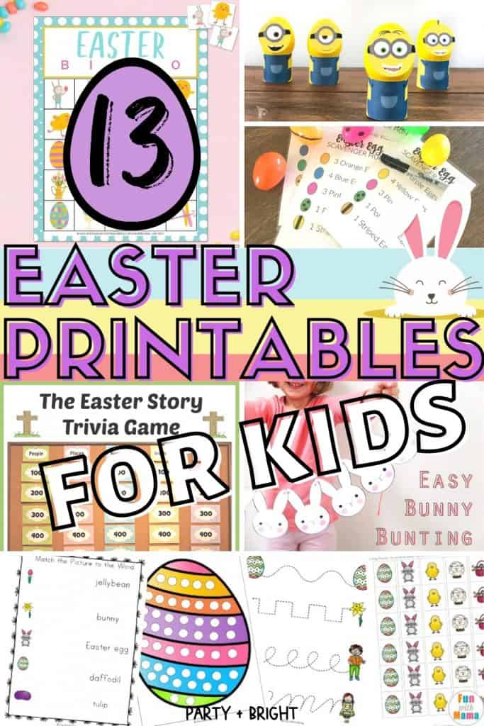 Collage of lots of printable Easter activities for kids with text 13 Easter Printables for kids