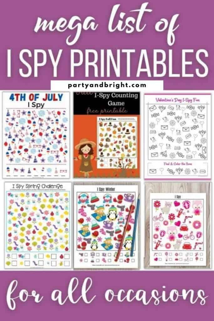 collage of different seasonal i spy printables with text mega list of i spy printables for all occasions
