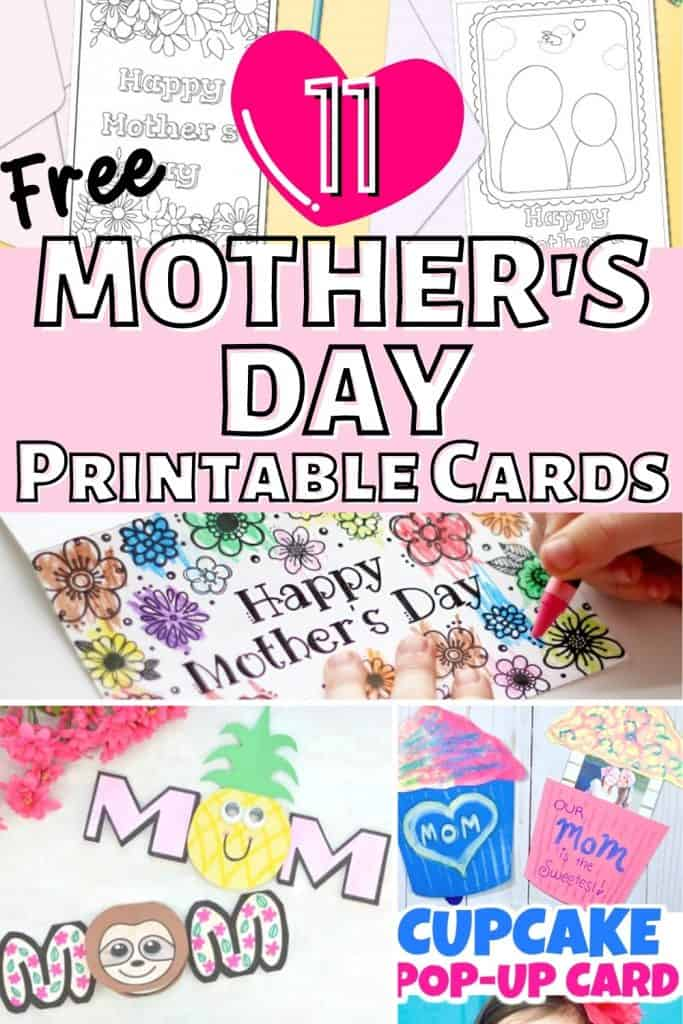 collage of mother's day printable cards including cards to color, pop up card and cards in shape of word mom and mum