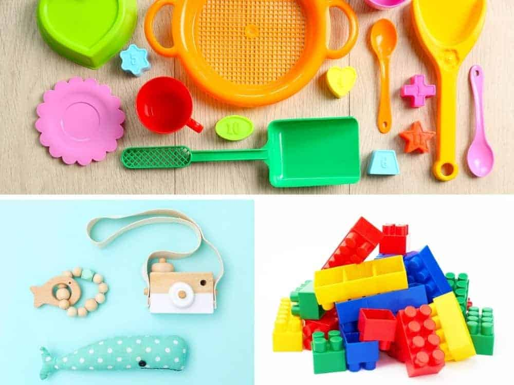 collage of non candy easter basket filler ideas including beach toys, legos, wooden camera, stuffed animal, and teether