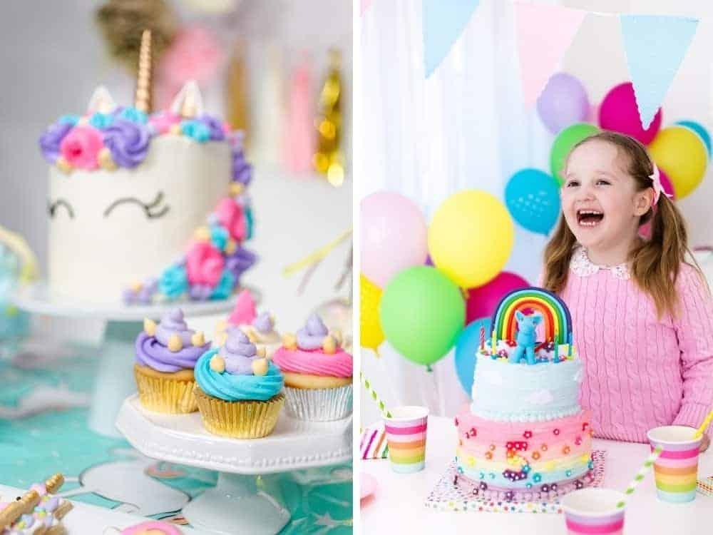 unicorn and rainbow party decor and birthday cakes
