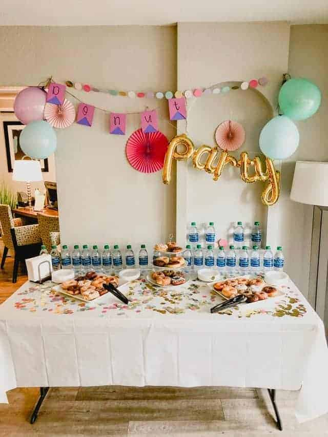 simple donut party table decor