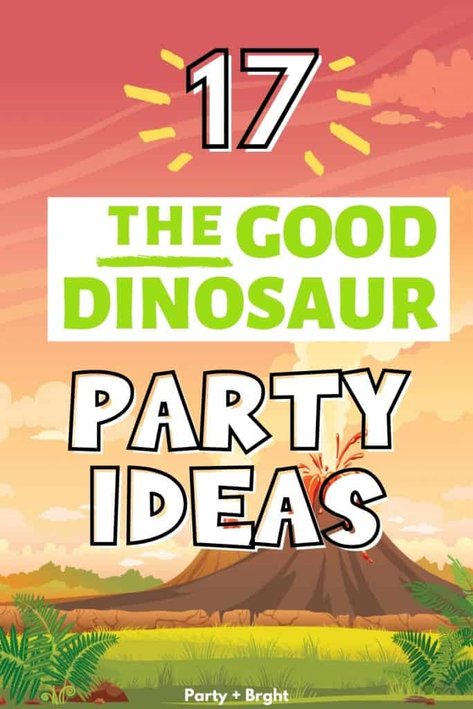 vector background of prehistoric volcano with text 17 the good dinosaur party ideas