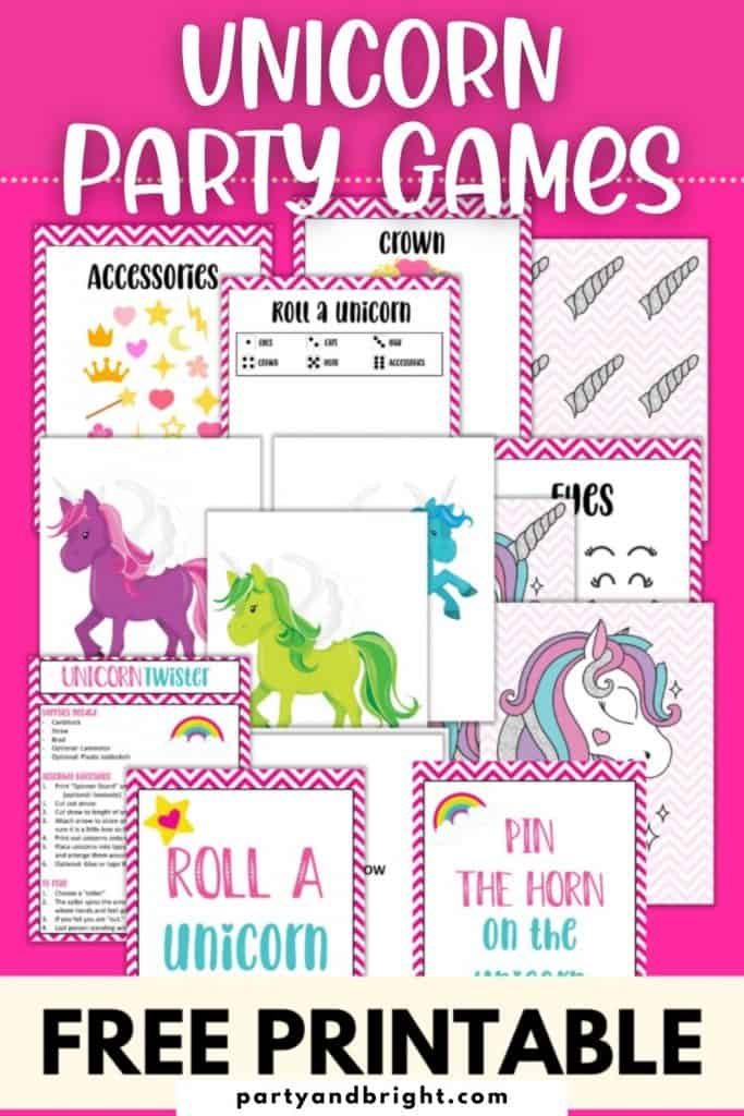 collage of free printable unicorn party games with brightly colored unicorns and pin the horn on the unicorn