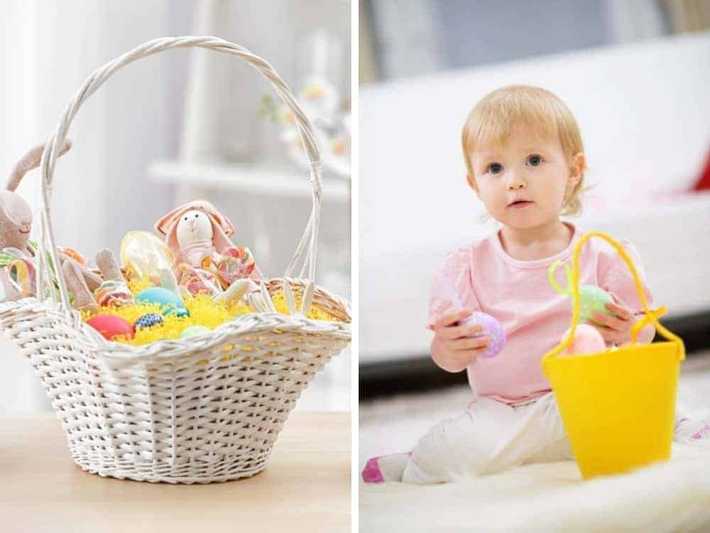 colorful easter basket and baby with easter basket