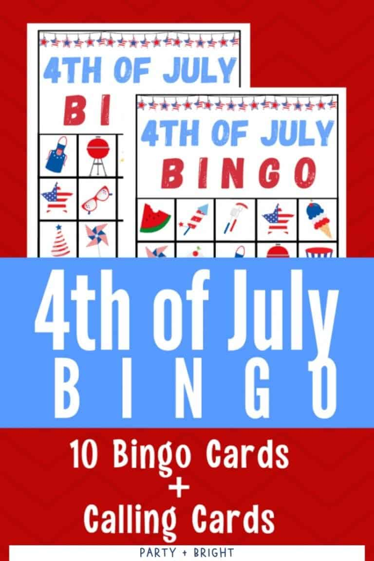 4th of July Bingo Cards Printable and Patriotic Games for Kids