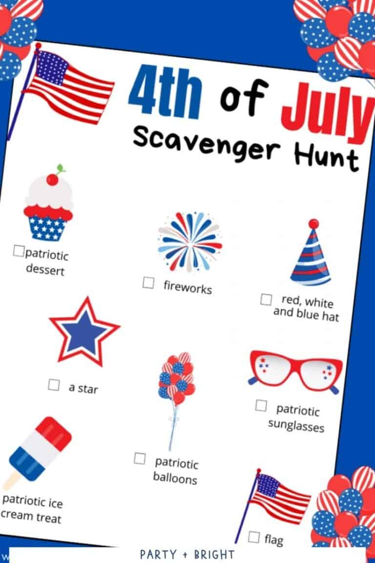 Free 4th of July Scavenger Hunt Printable Game for Kids