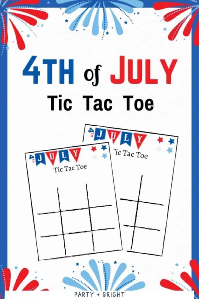 4th of july tic tac toe printable