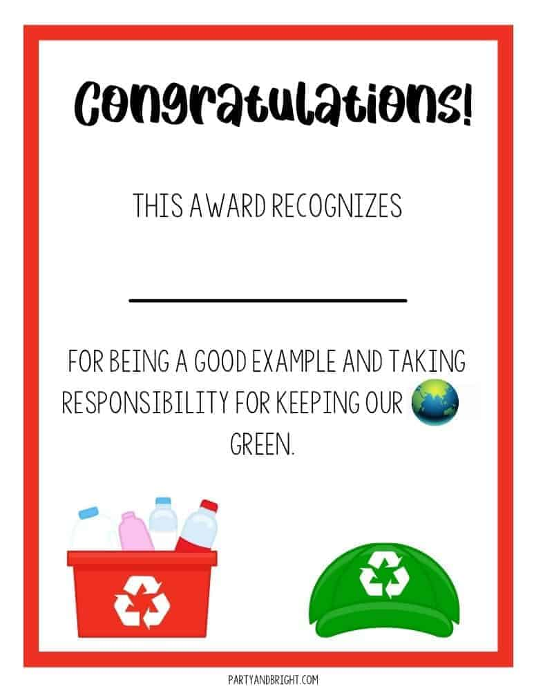 earth day award certificate for kids