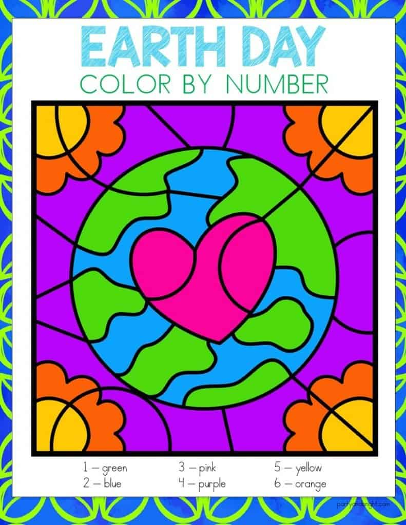 earth day color by number with picture of earth with heart in middle