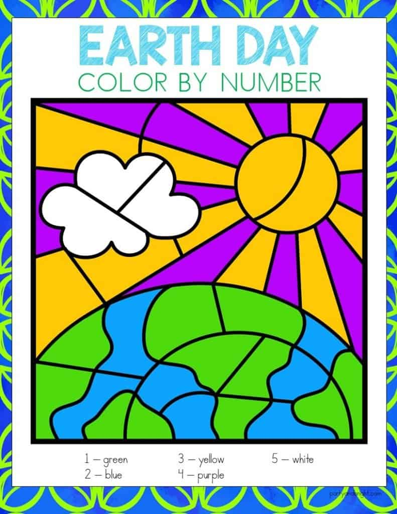 earth day color by number with picture of sun and earth colored in