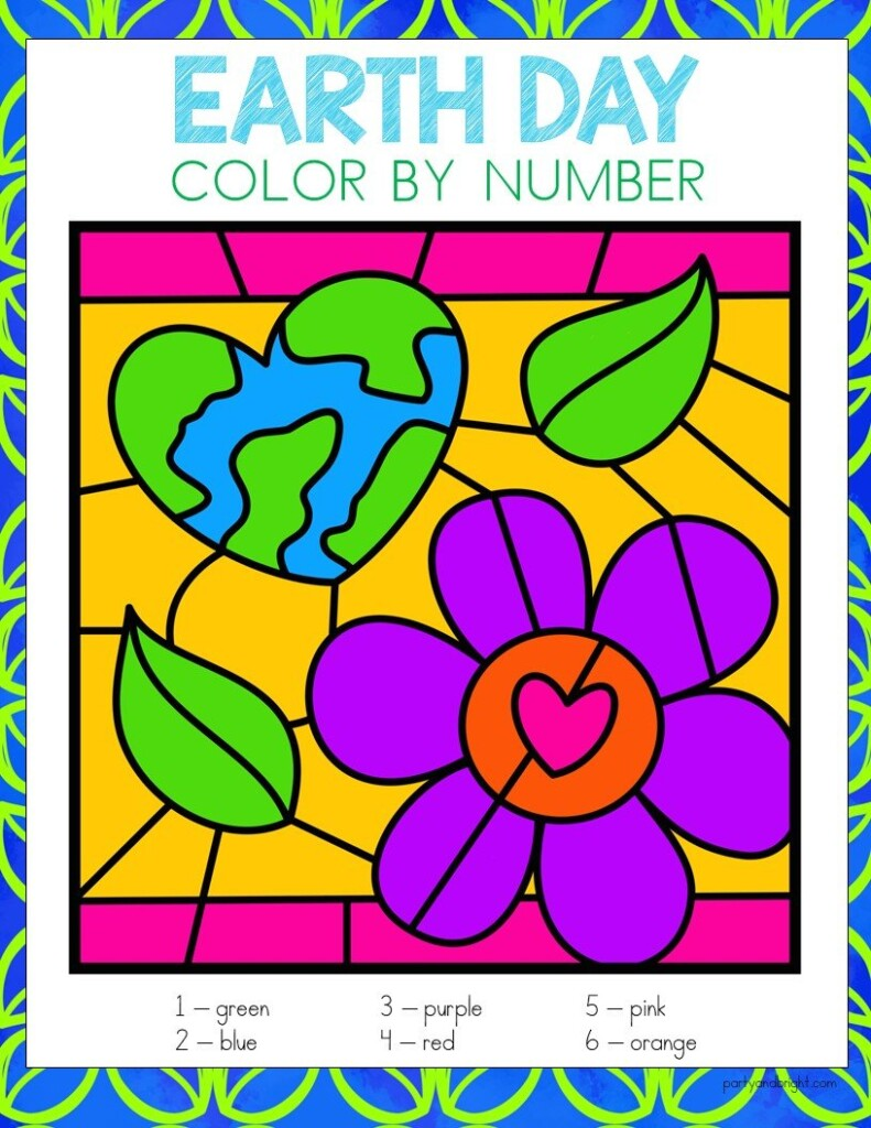 earth day color by number with picture of earth in heart shape with flower colored in