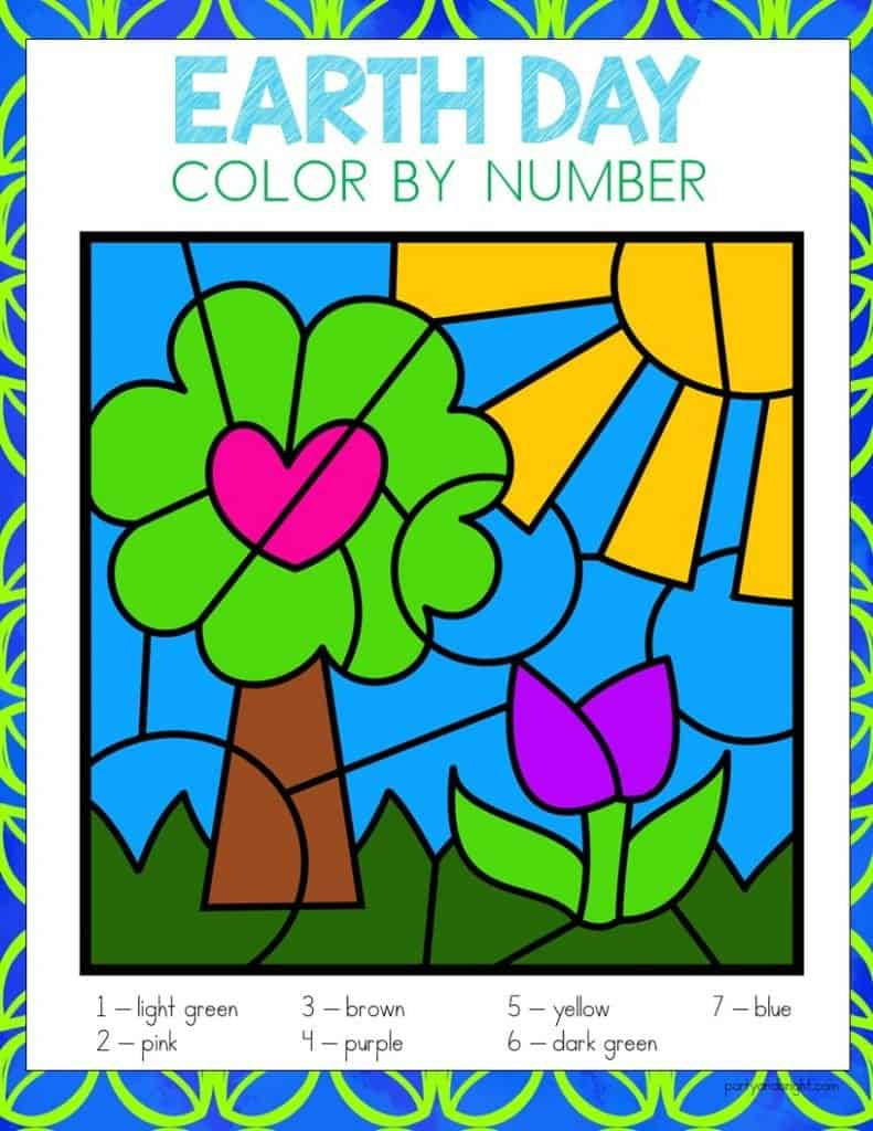 earth day color by number with picture of tree with heart and flower
