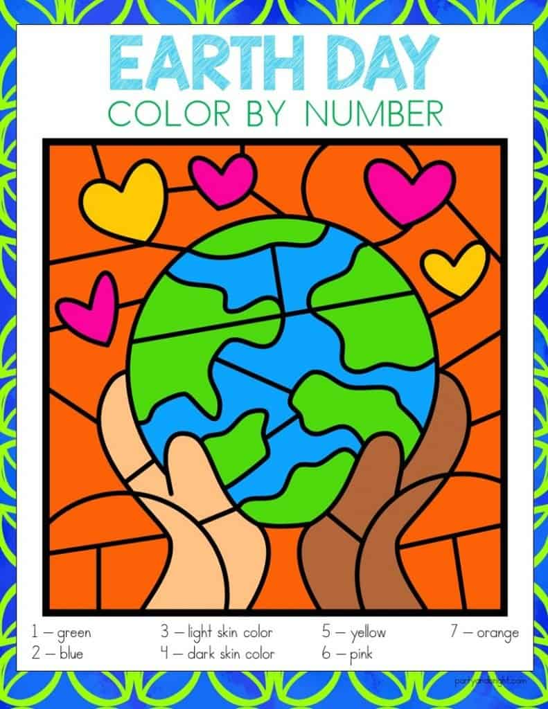 earth day color by number with picture of earth with hands