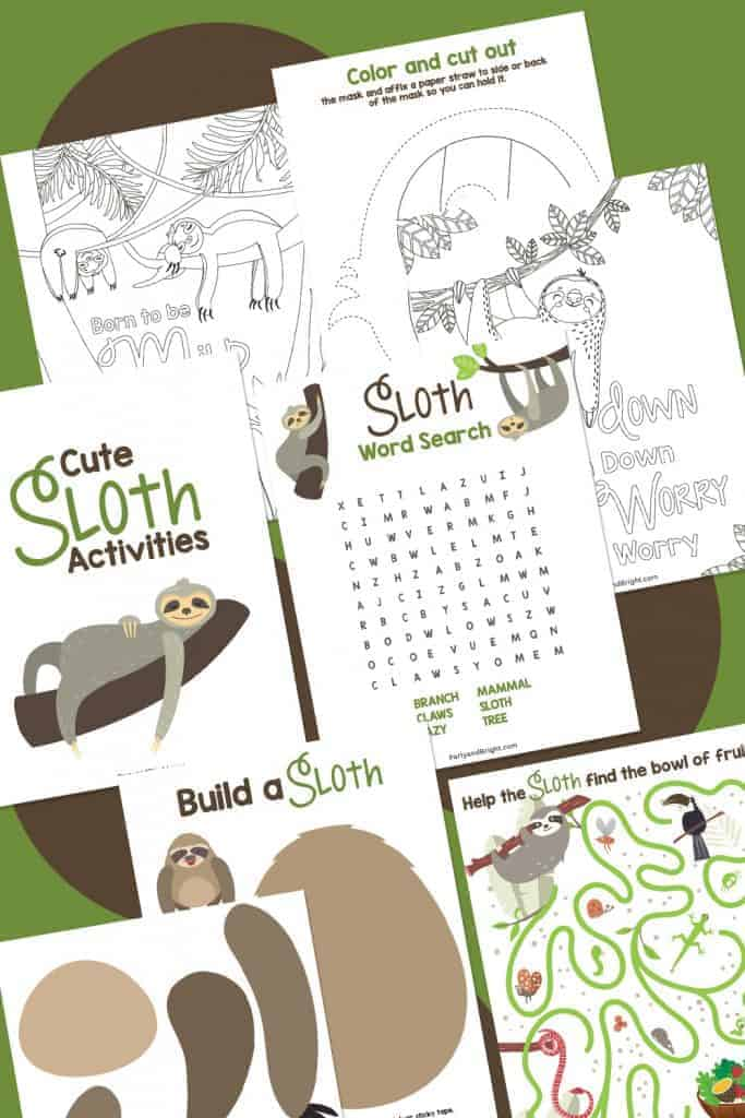collage of fun sloth activity pages to print