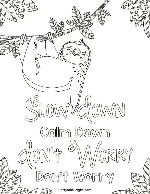 sloth coloring page with quote