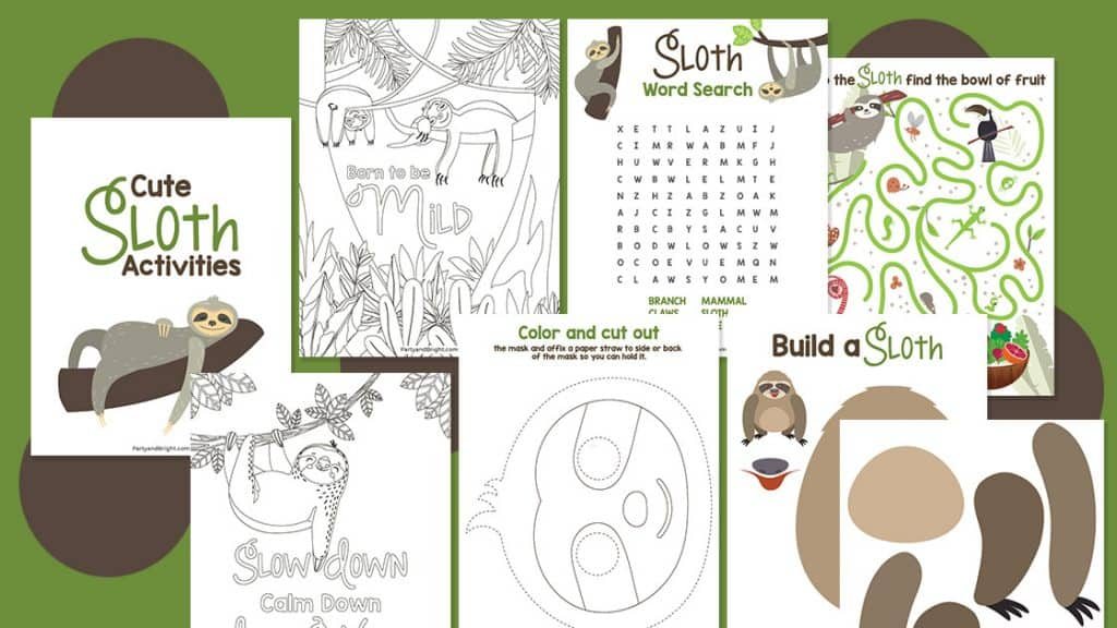 collage of sloth themed coloring pages and activities