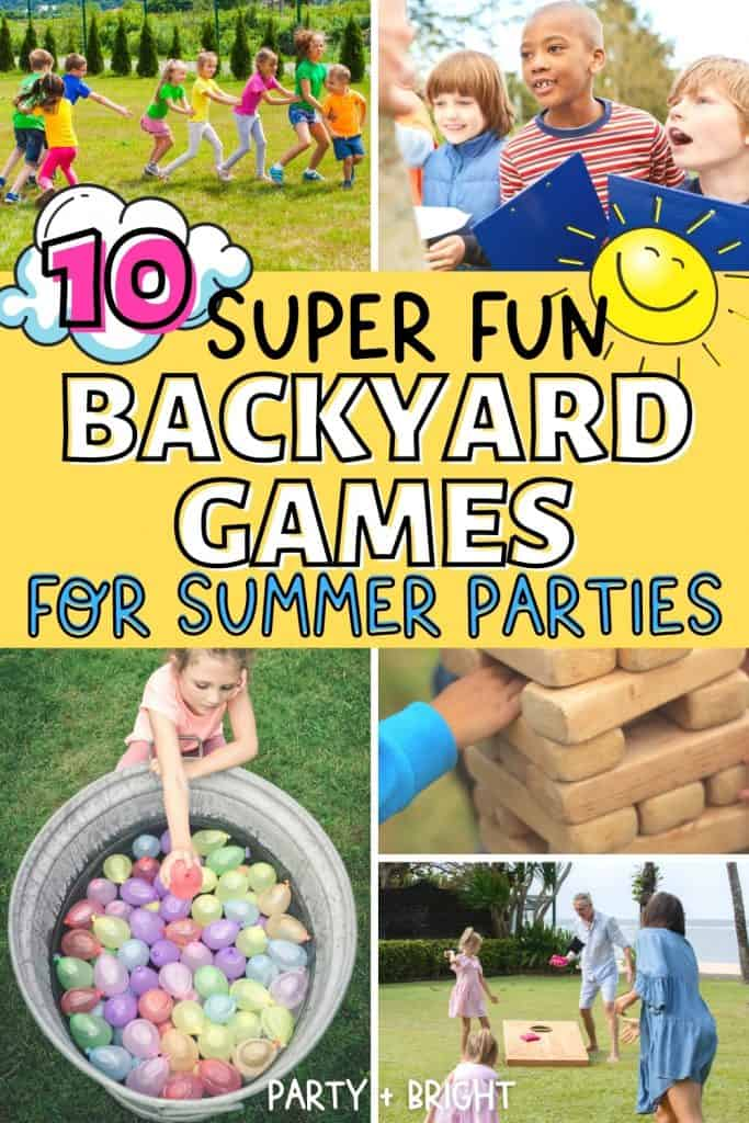 backyard games in a grid collage