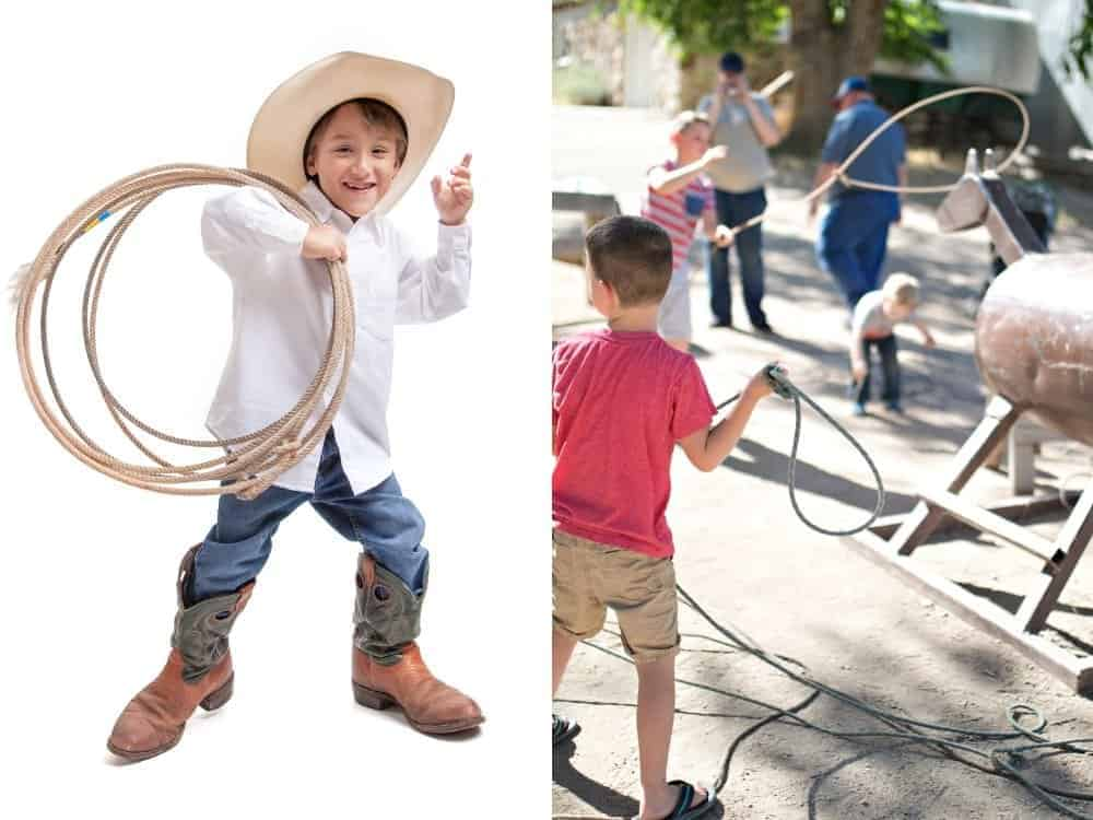 boys roping a pretend horse and boy with a lasso