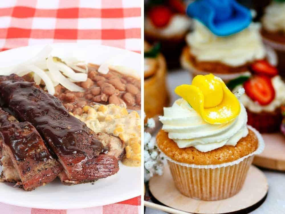 cowboy party food including ribs, beans and cupcake with cowboy hat on top