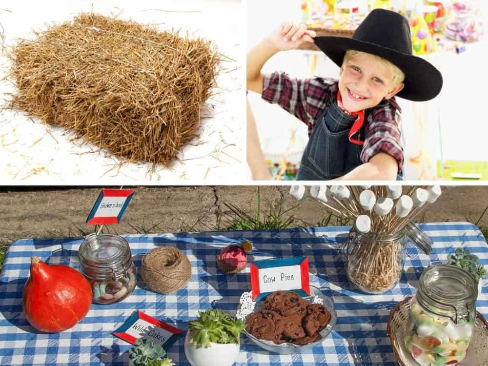 collage of cowboy party things including hay, boy in cowboy hat and table with cowboy themed food