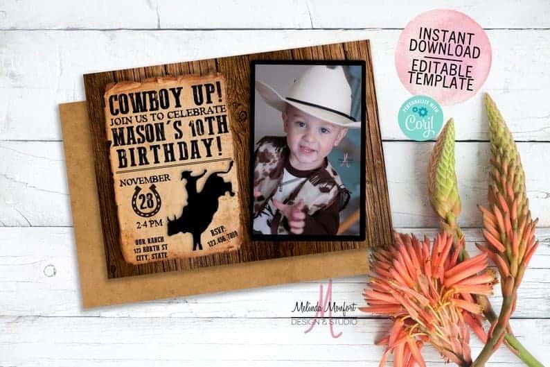 cowboy birthday invitation with child photo
