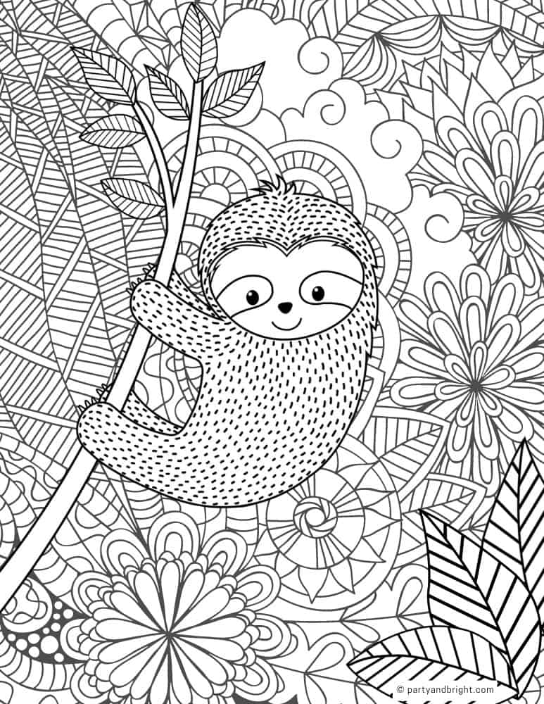 sloth coloring page for adults with intricate designs