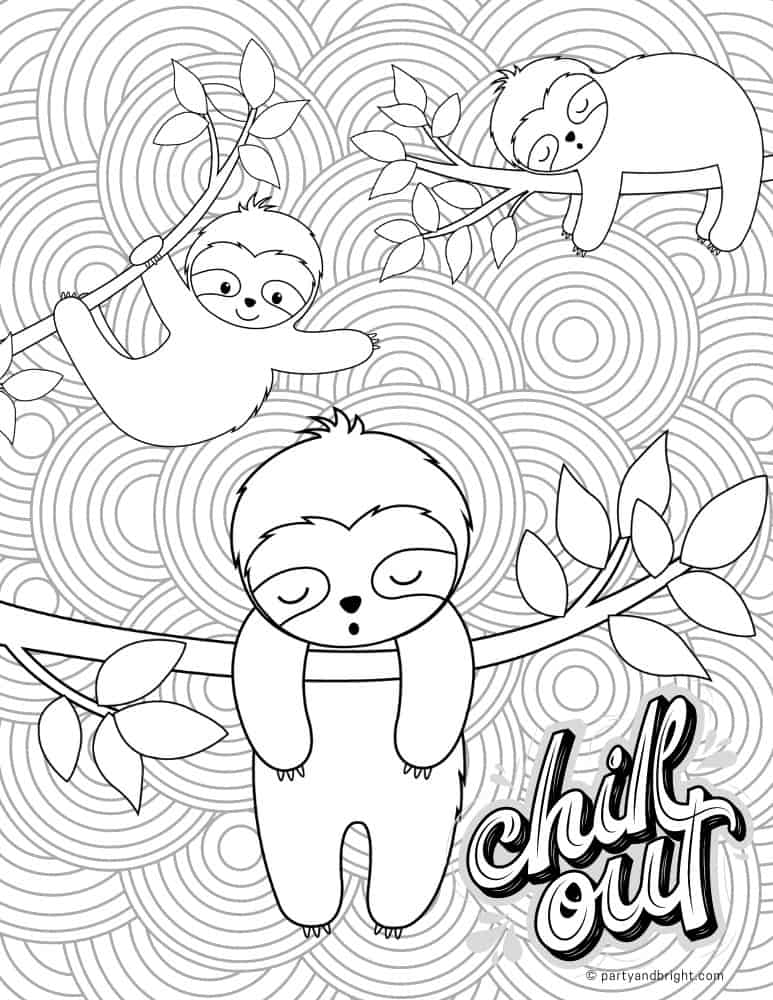 adult coloring page with slots that says chill out with mandala
