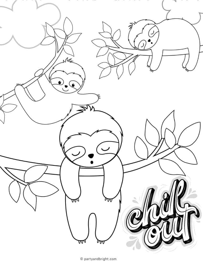 black and white lined drawing of sloths sleeping on vines