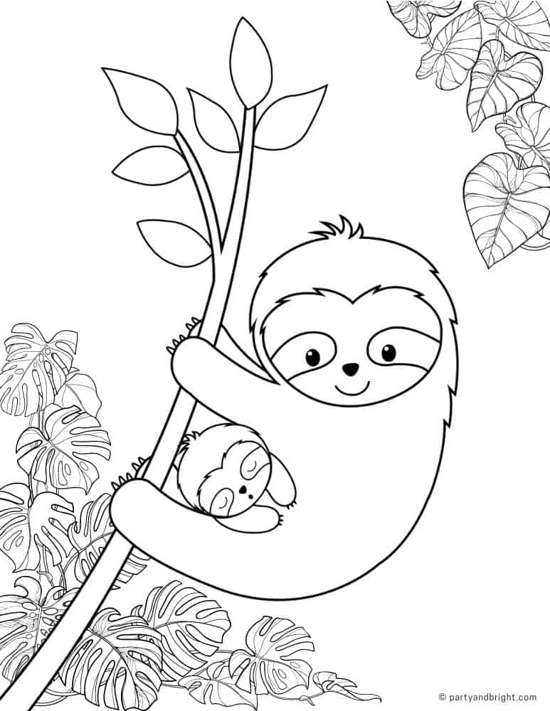 black and white printable coloring page with mama sloth with baby on a branch