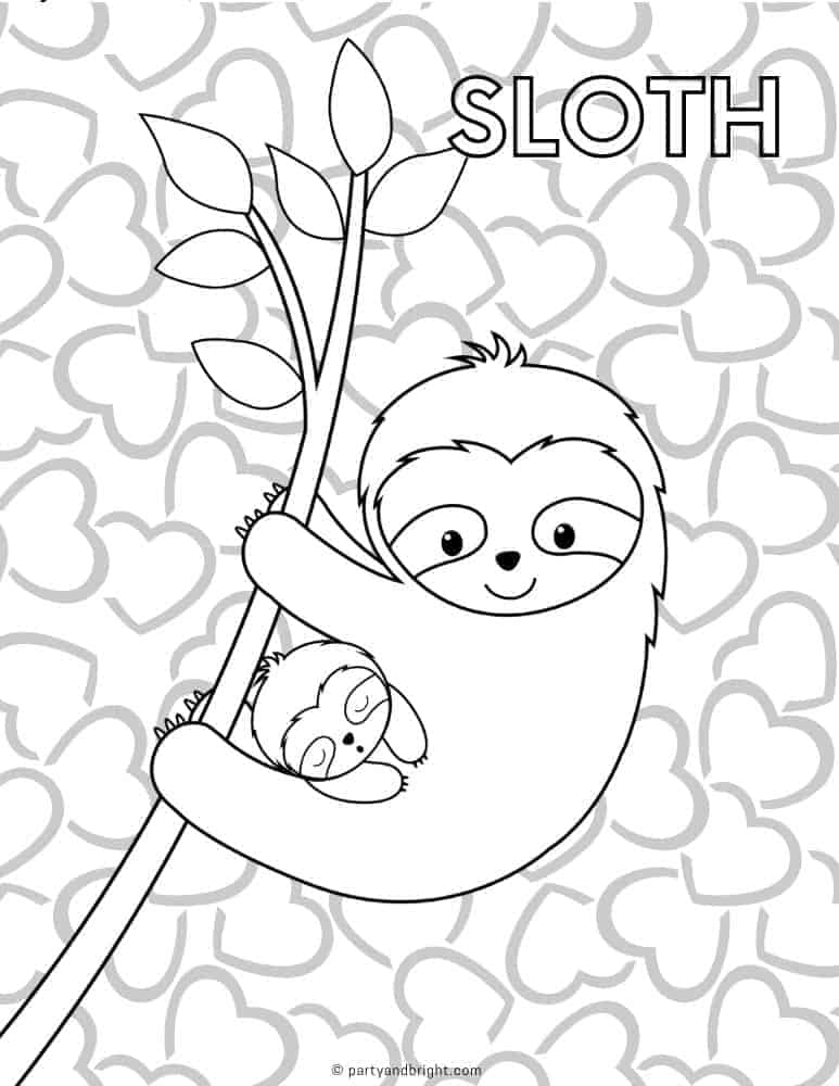 Black and white mama sloth with baby coloring page