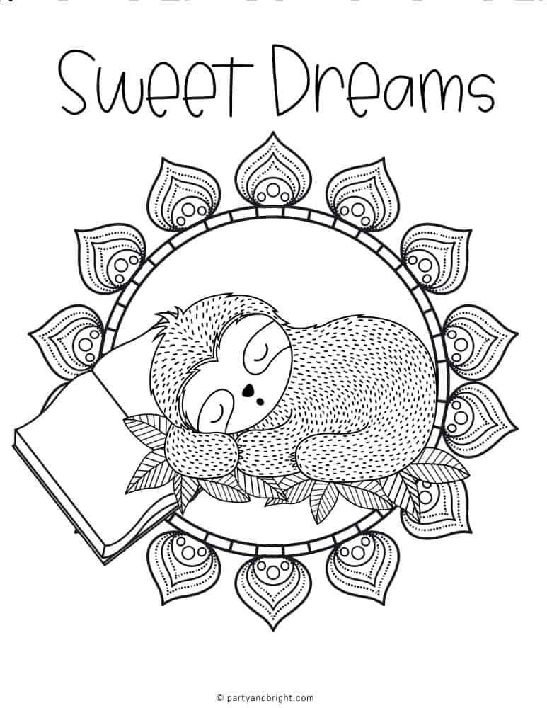 sloth coloring sheet with sleeping sloth inside mandala