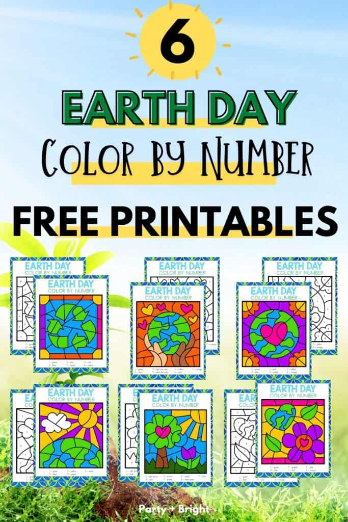 collage of 6 earth day color by number activity pages with text