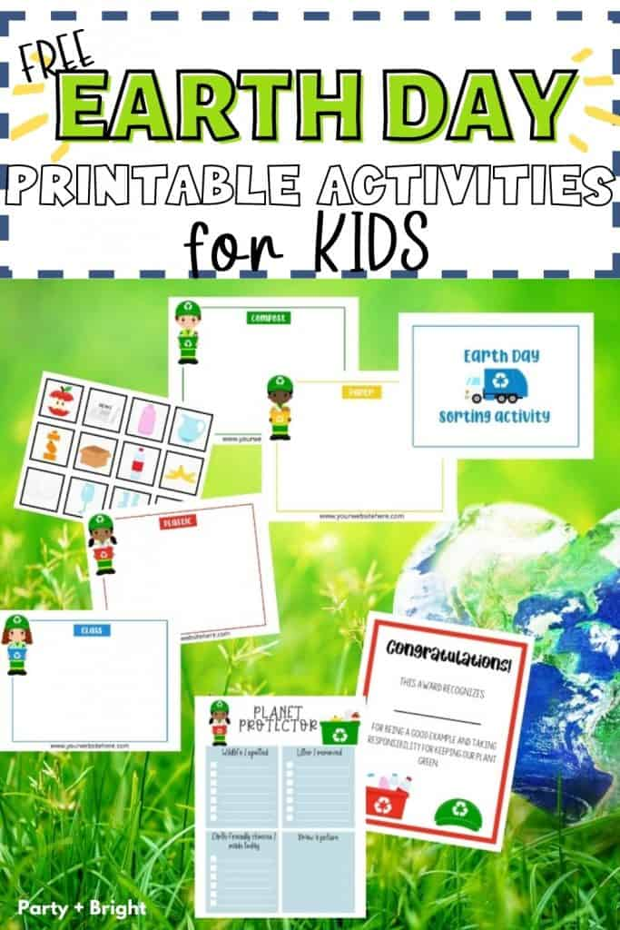 collage of lots of earth day printable activities for kids