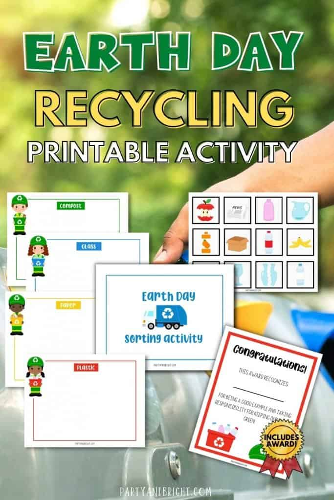 collage of printable recycling activities for kids on a background of hand putting bottle in recycling container