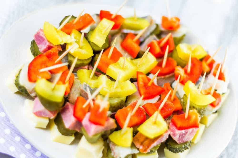mini veggie and meat kabobs
