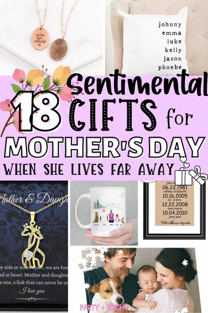 collage of sentimental mothers day gifts available on etsy