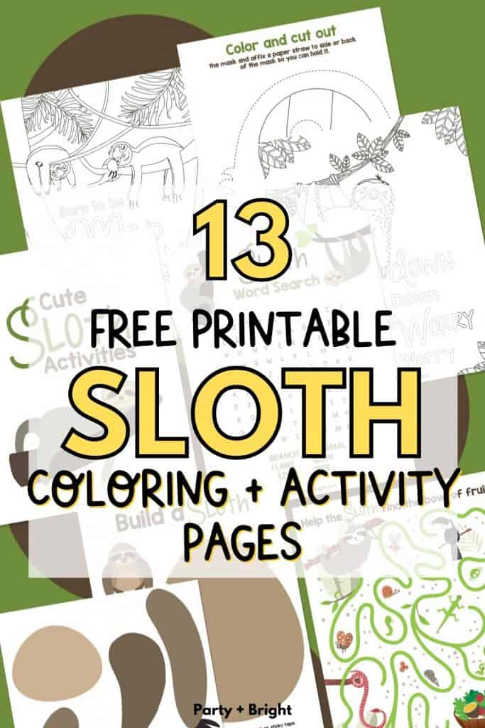 collage with sloth activities and coloring pages