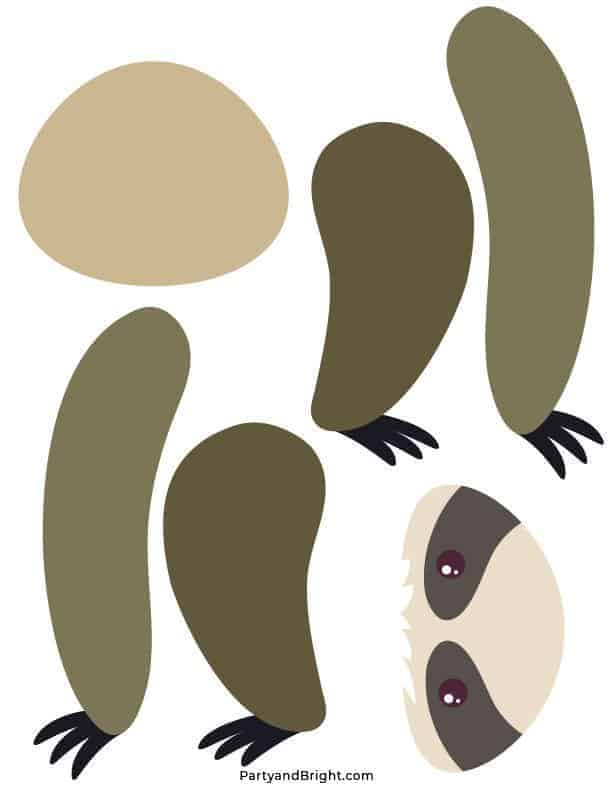 cut out pieces of sloth printable template