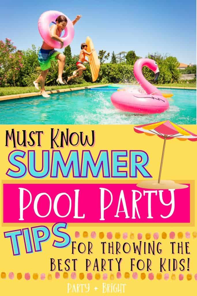 kids jumping into pool with text must know summer pool party tips for throwing the best party for kids