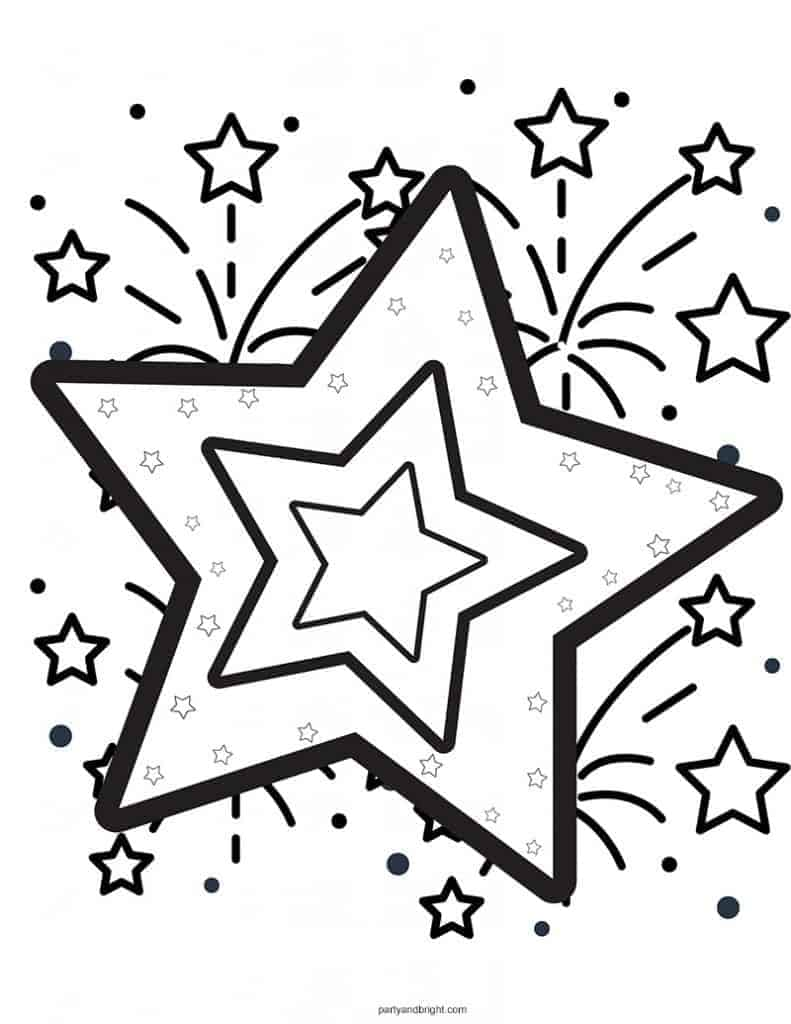 4th of July coloring page with stars