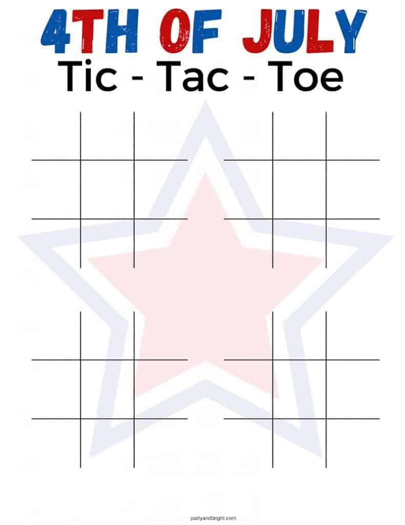 4th of July Tic Tac Toe Printable game