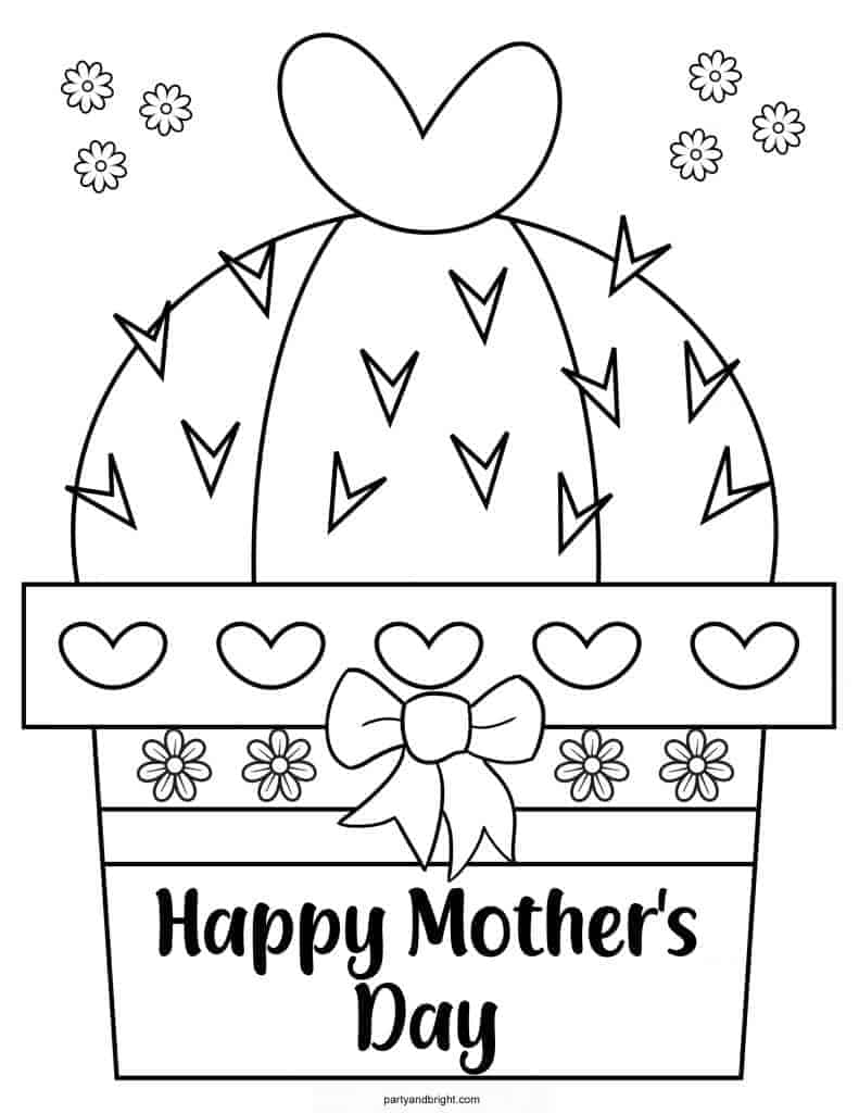 Mothers Day Coloring Page with potted cactus that says Happy Mothers Day