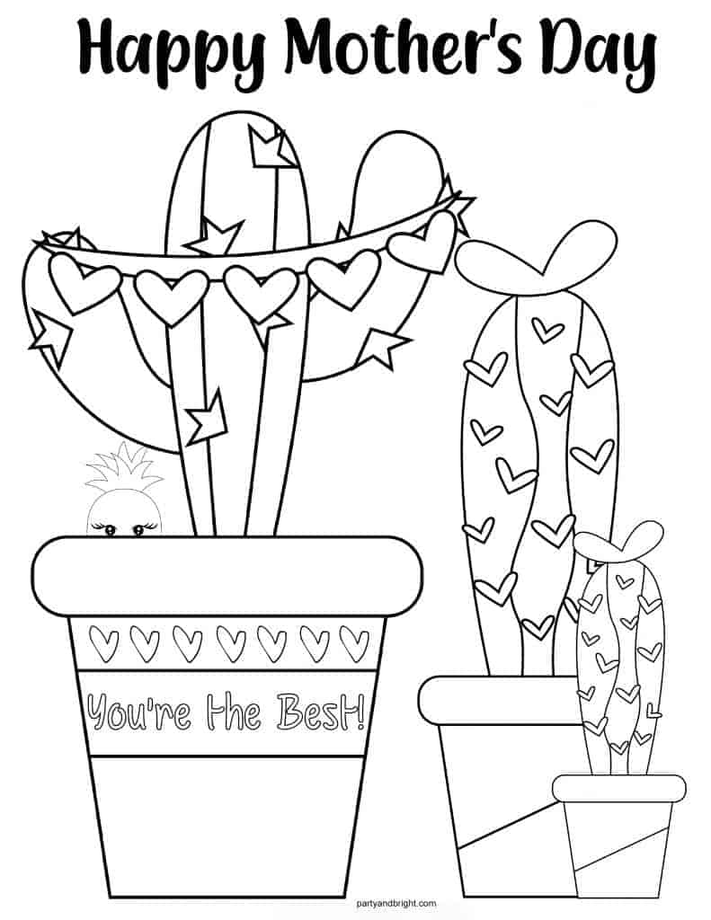 Mothers Day Cactus Coloring Page with hearts and stars