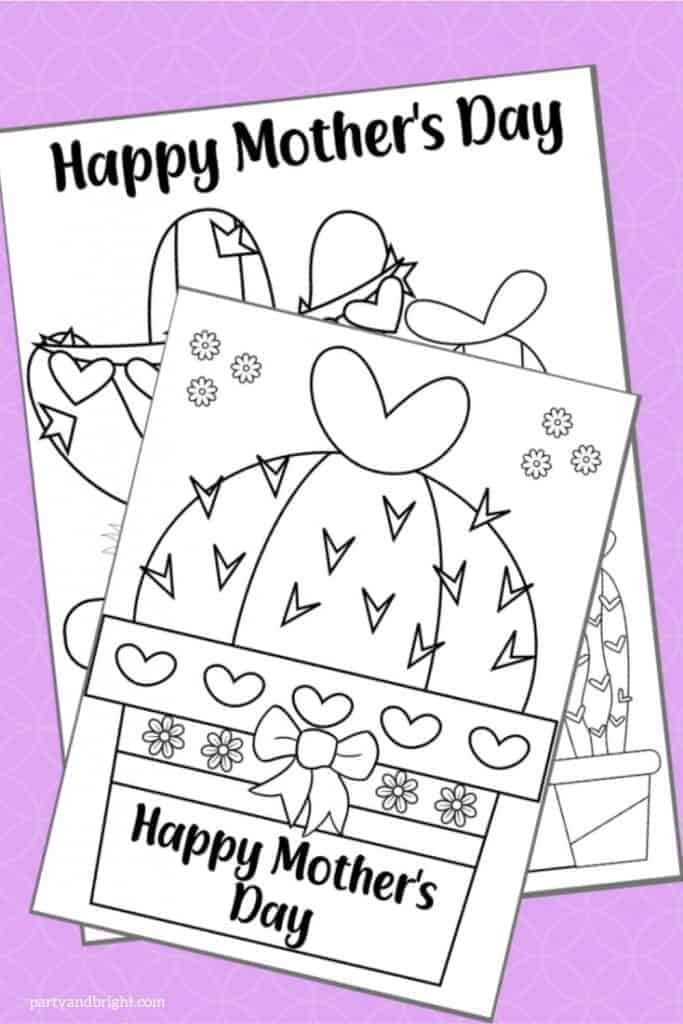 cactus coloring page that says happy mothers day