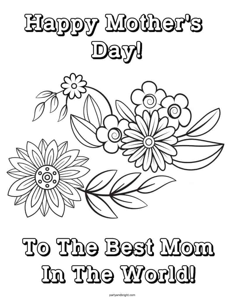 happy mothers day flower coloring page