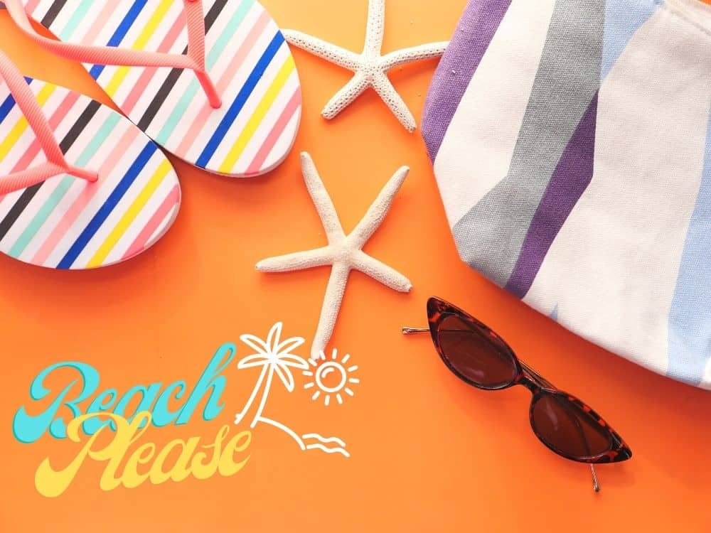flat lay of beach items with text Beach Please and image of sun and palm tree